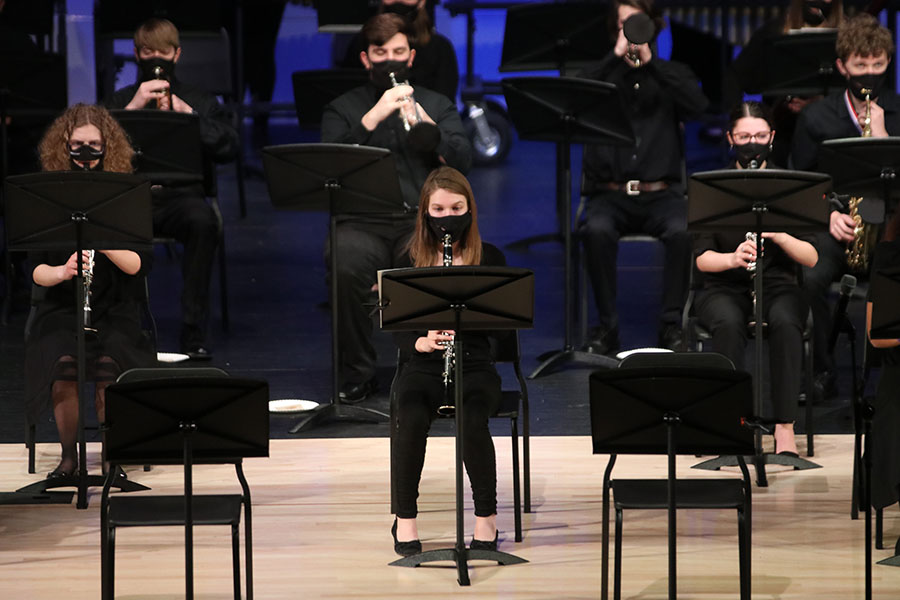Senior Patty McClain joins the symphonic band with her clarinet.