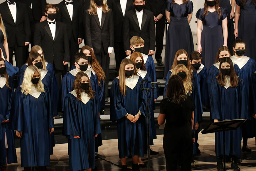 All choirs recently participated in the state music contest, earning all outstanding or excellent ratings. Rather than performing live, each entry was recorded and submitted to be judged virtually.